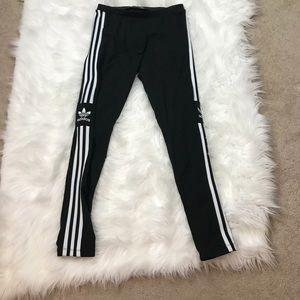 Adidas Black And White 3 Stripe Leggings